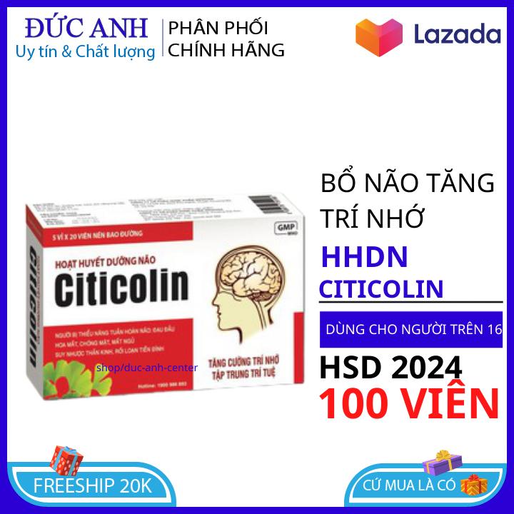 [ Hộp 100 viên] Hoạt huyết dưỡng não Citicolin coenzym Q10 giảm đau đầu, hoa mắt, chóng mặt, rối loạn tiền đình dùng cho mọi lứa tuổi