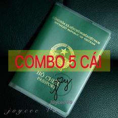 Combo 5 cái vỏ bao hộ chiếu (passport) dẻo trong có khe đựng vé máy bay và các loại thẻ Joycee Vo 5B132