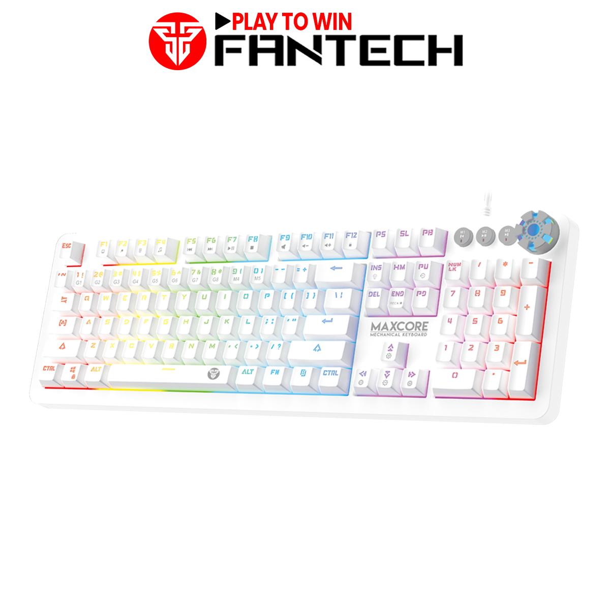 Bàn Phím Cơ Gaming Full-sized Có Dây Fantech MK852 MAXCORE Outemu Blue/Brown Switch LED RGB Gradient Full Anti Ghosting Có Phần Mềm Tùy Chỉnh Riêng Màu Đen/Trắng – Hãng Phân Phối Chính Thức