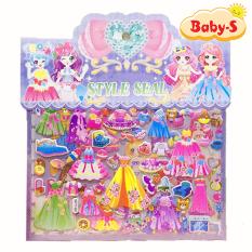 Set sticker phối đồ công chúa loại dán 3D 2 lớp cao cấp hottrend sinh động với đa dạng mẫu đầm cùng các phụ kiện xinh yêu Baby-S – SST004
