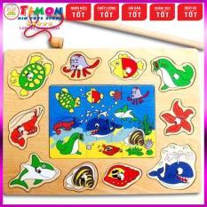 Bảng Câu Cá Bằng Gỗ Kết Hợp Tranh Ghép Sáng Tạo, đồ chơi giáo dục thông minh phát triển trí tuệ, đồ chơi MONTESSORI, đồ chơi an toàn – TIMONKIDS
