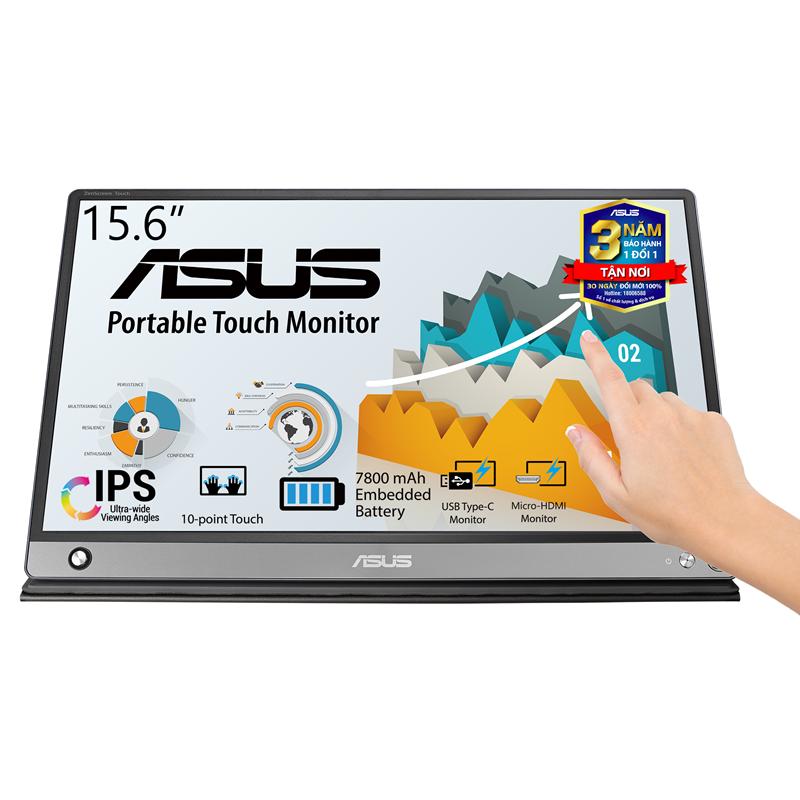 Màn Hình Di Động Cảm Ứng USB ASUS ZenScreen Touch MB16AMT 16 inch Full HD (1920 x 1080) 5ms 60Hz IPS USB Type-C Micro-HDMI Stereo Speakers 1W x 2 – Hàng Chính Hãng