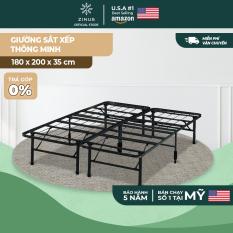 [FREESHIP MỌI ĐƠN]Giường Sắt Xếp Thông Minh Zinus Smart Base 180x200x35cm