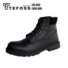 Giày Boots Nam Cao Cổ Buộc Dây Da Bò Thật Nguyên Tấm TEFOSS HN612 Đen
