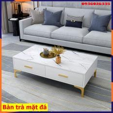 Bàn trà sofa phong cách hiện đại 2 ngăn kéo, mặt bàn vân đá sang trọng