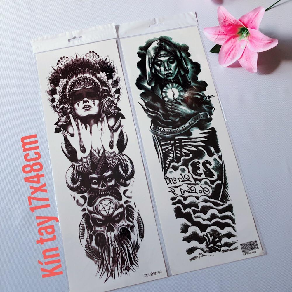 Combo 2 tấm hình xăm dán tattoo kín tay trắng đen 17x48cm (Mua 2 tặng 1. Chọn mẫu tùy thích