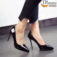 Giày cao gót nữ da bóng 12CM màu đen. Hàng VNXK – GN1202
