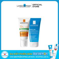 Bộ Kem chống nắng cho da dầu La Roche-Posay Anthelios Dry Touch 50ml và Gel rửa mặt 50ml