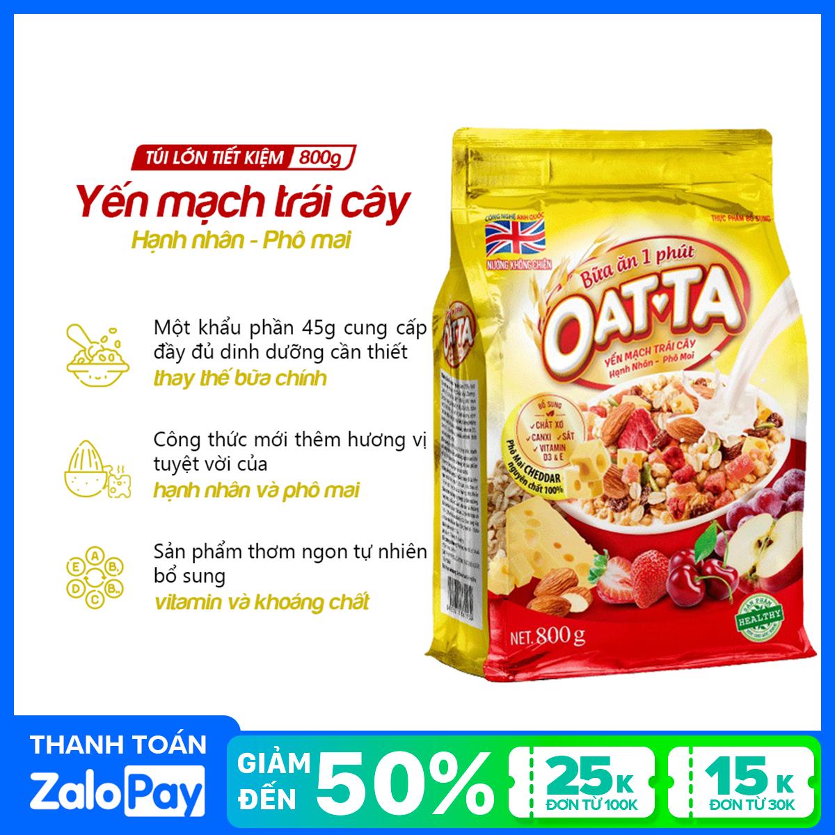 Yến mạch trái cây Hạnh nhân – Phô mai Oatta túi 800g (tặng bát sứ giữ nhiệt cao cấp Oatta)