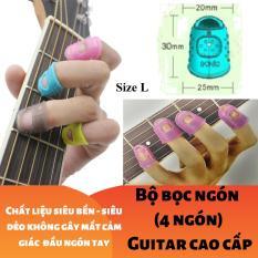 (Size L) Bộ 4 cái bao, bọc đầu ngón tay cao cấp chống đau đủ màu Tím Xanh Vàng Trắng Xám Hồng – Guitar – Ghi-ta – Violin – Ukulele – Mandolin – Bảo vệ đầu ngón tay