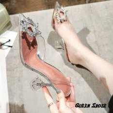 (Bảo hành 12 tháng) Giày cao gót nữ – sandal cao gót 7cm bít mũi trong suốt gót nhọn – Giày bít mũi Mika trong cao cấp đính hoa mặt trời
