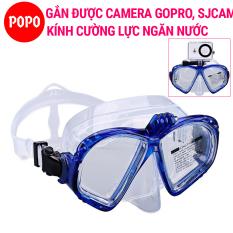 Mặt nạ lặn biển Gopro, mắt KÍNH CƯỜNG LỰC, gắn GOPRO SJCAM – POPO Collection