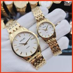 Đồng hồ cặp thời trang nam nữ Halei 562 Hl1 mặt tròn dây kim loại kèm lịch ngày cao cấp