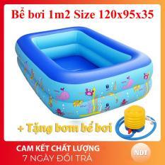 [Tặng Bơm + keo vá bể] Bể bơi phao 2 tầng hình chữ nhật Size 120x95x35 cho bé – Hồ bơi cho trẻ 1,2m + Bơm bể bơi