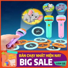 Đồ chơi Đèn pin chiếu hình cho bé 3 tấm chiếu 24 hình, đèn pin kể chuyện cho bé chất liệu nhựa ABS an toàn