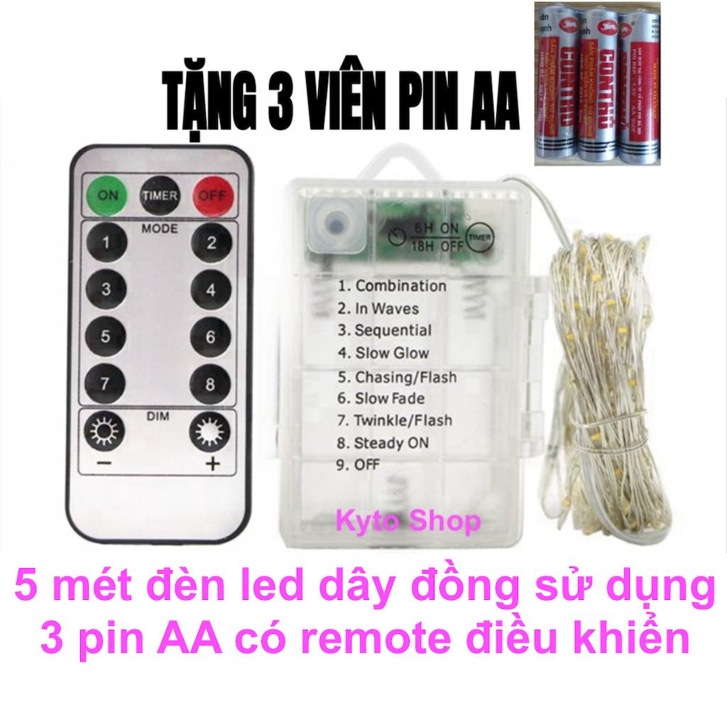 5m Đèn led trang trí chớp nháy có Remote điều khiển sử dụng 3 pin AA, Đèn đom đóm dây đồng Fairy Light dùng trang trí phòng ngủ, phòng khách, giáng sinh, năm mới   Kyto Shop