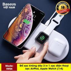 Sạc nhanh không dây hãng Baseus IW04 siêu mỏng sạc 3in1 cho smartphone, iphone X, XS, Xs Max , Applewatch và tai nghe Airpod – Phân phối bởi Baseus Vietnam