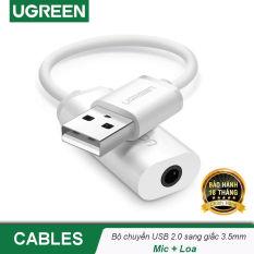 Cáp chuyển từ cổng USB ra audio 3.5mm hỗ trợ Mic và Tai Nghe Ugreen US206 30712 – Hãng phân phối chính thức
