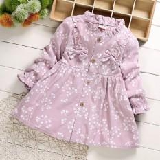 Váy Đầm Dài Tay Cho Bé Hoa Nhí Phong Cách Hàn Quốc 1 2 3 4 tuổi TD322