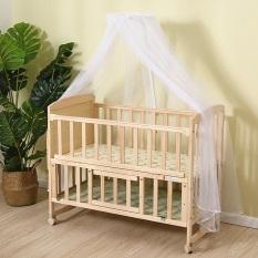 Cũi gỗ thông 2 tầng tặng kèm màn size 105cm. Gỗ thông chắc chắn, màn chống côn trùng tiện lợi, bánh xe di chuyển, sử dụng làm bàn khi bé lớn, crib, baby pine wood crib. HAPPY HOME