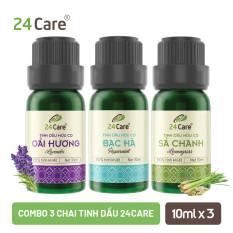 Combo 3 chai Tinh dầu 24CARE 10ML/50ML/100ML – Hương Sả chanh, Bạc hà, Oải hương