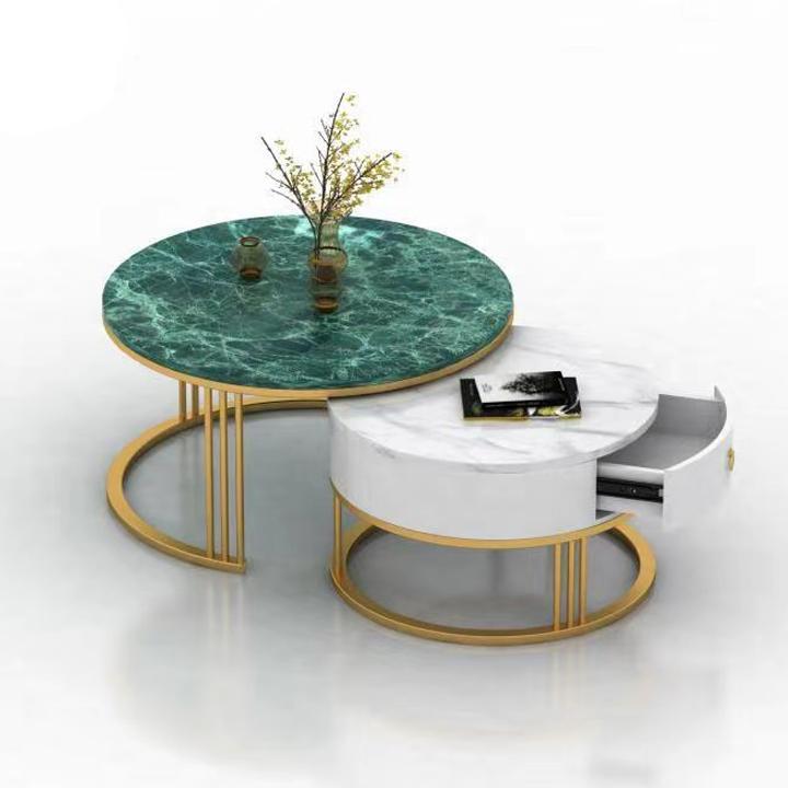 Bộ 2 Bàn sofa cao cấp – Bàn trà hình tròn – Bàn cà phê mặt đá cẩm thạch chân sơn vàng hiện đại trang trí phòng khách, quán trà, cà phê