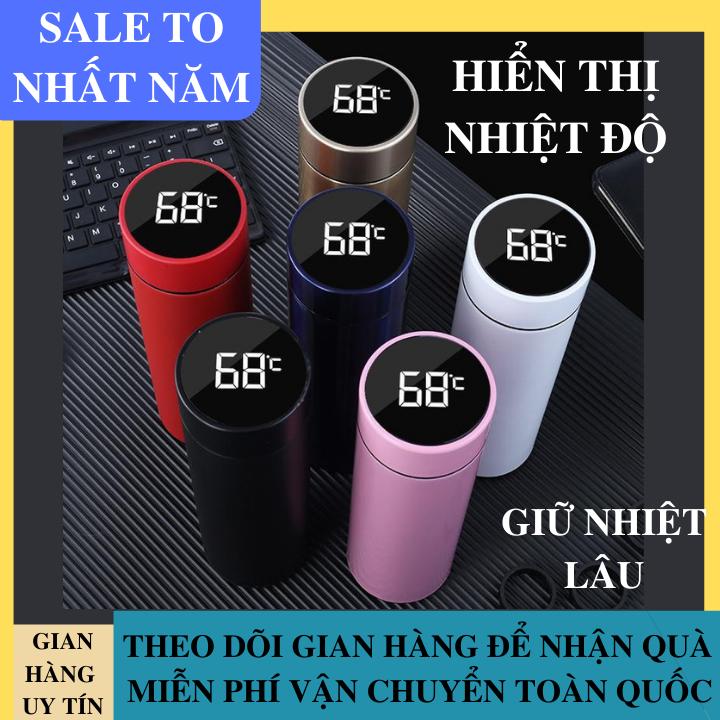 Bình Giữ Nhiệt INOX Dung Tích 500ml Hiển Thị Nhiệt Độ Bằng Màn Hình LCD Trên Nắp Bình Bảo Hành Chất Lượng, An Toàn Cho Sức Khỏe, Giữ Nhiệt Siêu Lâu