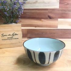 11×6 cm Chén cơm bát cơm gốm sứ Nhật kẻ sọc