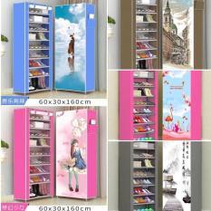 Tủ Vải Đựng Giày Dép 10 Tầng 9 Kệ Họa Tiết 3D – Tủ Giày Dép Kiểu Dáng Hiện Đại