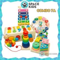 Combo 4 đến 7 món Đồ chơi gỗ thông minh cho bé giúp bé tư duy, phát triển trí tuệ Space Kids, chất liệu gỗ tự nhiên, nhiều màu sắc