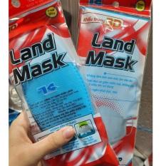 Khẩu trang 3D thương hiệu land mask (gói 6c, màu xanh vỏ đỏ, dáng tương tự KF94)