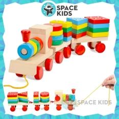 Đồ chơi gỗ thông minh Space Kids, đoàn tàu hỏa gỗ thả hình khối nhiều màu sắc cho bé phát triển trí tuệ