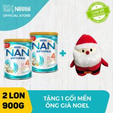 Bộ 2 lon sữa bột Nestle NAN Optipro 4 cho trẻ trên 2 tuổi 900g + Tặng 1 bộ mền gối Ông già Noel – Giới hạn 5 sản phẩm/khách hàng