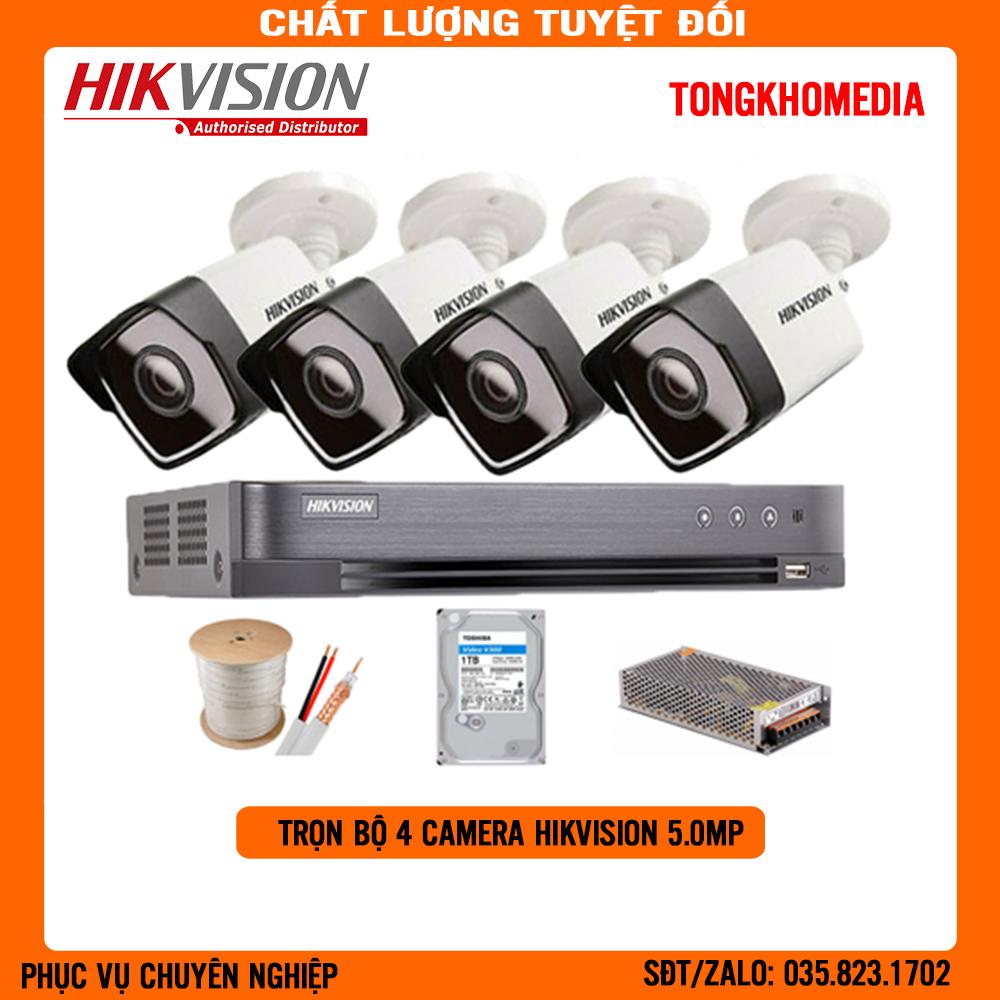 [CAO CẤP] Trọn Bộ 4 Camera HIKVISION ULTRA 2K(5.0Mp) Tặng Kèm Ổ Cứng 1TB + 40m Dây Cáp Đồng Trục Liền Nguồn Và Các Bộ Phụ Kiện Lắp Đặt Khác