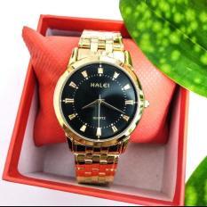 Đồng hồ nam Halei dây vàng mặt đen tặng vòng tì hưu sang trọng bền đẹp HL008a