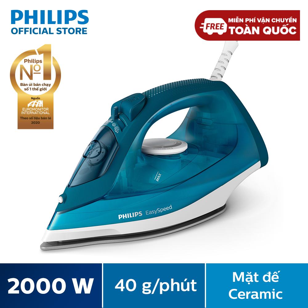 [Tặng sấy tóc BHC015 – SL có hạn] Bàn ủi hơi nước Philips GC1756 2000W (Xanh) – Mặt đế bằng gốm để trượt dễ dàng trên mọi loại vải và chống trầy xước – Hàng phân phối chính hãng
