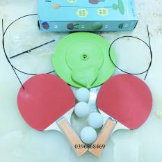 [Bộ vợt gỗ+4bóng] Bóng bàn luyện phản xạ – Bộ đồ chơi bóng phản xạ – Dụng cụ tập đánh bóng bàn cho mọi lứa tuổi (2 vợt gỗ +4 bóng+2 dây+1 đế)