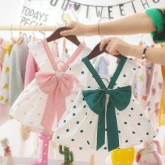 Váy đầm công chúa bé gái cột nơ xinh xắn, tay bèo chấm bi dễ thương cho bé từ 5-12kg V36