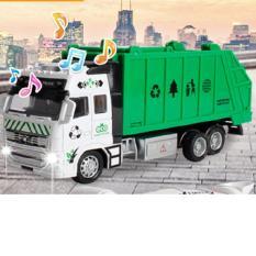 Mô hình xe chở rác đồ chơi trẻ em tỉ lệ 1:38 chạy cót đầu xe ô tô bằng sắt