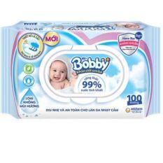 Khăn ướt Bobby 100 tờ – Nano Bạc, không mùi hương