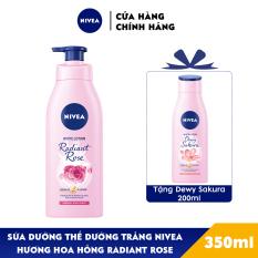 [Mua 1 tặng 1] Sữa Dưỡng Thể Dưỡng Trắng NIVEA Hương Hoa Hồng Radiant Rose (350ml) – 85707 – Tặng Dewy Sakura 200ml