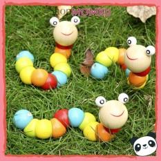 Đồ chơi con sâu gỗ uốn dẻo nhiều màu sắc đáng yêu cho bé