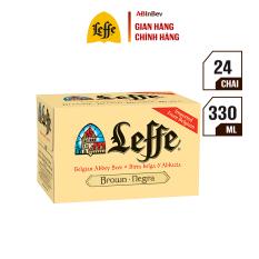 Thùng 24 chai bia Leffe Brune (Leffe Nâu) (330ml/chai) – Vị Caramel Đắng Nồng Caramel Nhập Khẩu Từ Bỉ