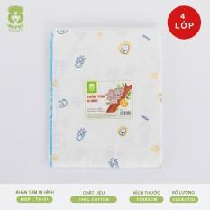 Khăn tắm in hình Mipbi cao cấp 4 lớp 100% cotton tự nhiên TH01 (Túi 1 chiếc 75x85cm)