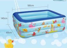 Bê Bơi Cho Bé, Bể bơi phao trong nhà hình chữ nhật size (180 X 140 X 60) cm chất lượng cao.