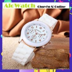 [GIÁ SỈ] Đồng hồ Geneva dây cao su Thời trang Alowatch (Trắng)