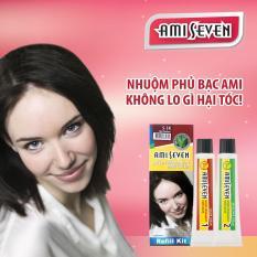 Nhuộm phủ bạc dược thảo Ami Seven Speedy Permanent Hair Color (60g/60g) – Hàn Quốc – loại tiết kiệm- màu S5R: Hạt dẻ ánh đỏ