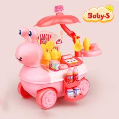 Bộ đồ chơi xe kem 27 chi tiết kèm xe kem hình ốc sên vui vẻ bằng nhựa nguyên sinh ABS an toàn cho bé yêu Baby-S – SDC022