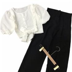 (Kèm video + ảnh thật) Set đồ nữ áo cột nơ và quần ống rộng hot trend Hàn Quốc, phù hợp với mọi lứa tuổi vóc dáng, dễ phối trang phục, có size to dưới 65kg
