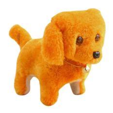Đồ chơi chú chó vàng biết đi và sủa dùng pin có đèn Chất liệu nhựa và kim loại Sử dụng 2 pin AA Thiết kế đáng yêu